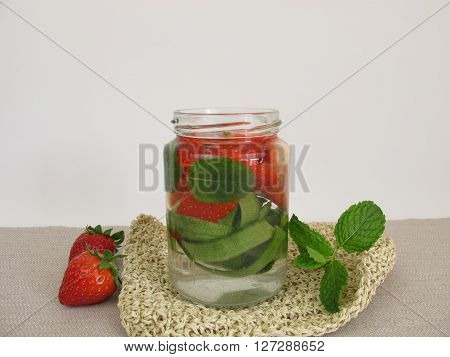 Detox water with cucumber peel, strawberries and mint