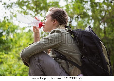 Woman drinking water and sitting in the countryside