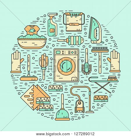 Vector line style color icons concept of housekeeping or household cleaning. Vacuum cleaner, washing machine, gloves, brush, brush, bucket, broom, iron, wiper, sponges. Round shape illustration.