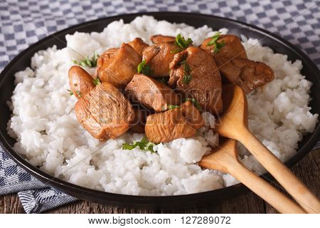 Philippine Cuisine: Adobo With Rice Close-up. Horizontal