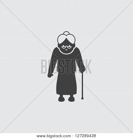 Grandmother with cane icon illustration isolated vector sign symbol