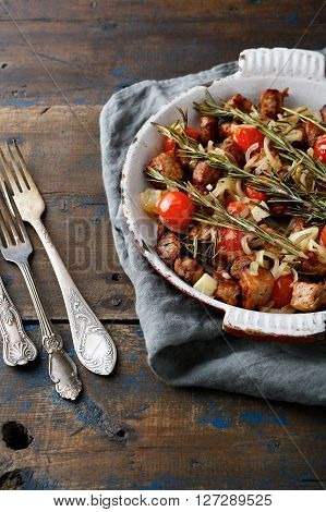 Roasted Pork Meat On Frying Pan. Rustic Background