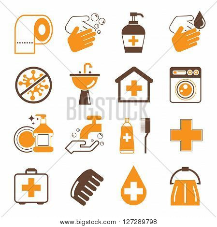 collection of hygiene icons, cleaning icons in orange color theme