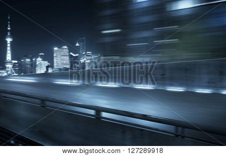 View from Side of flyover , blurred motion .