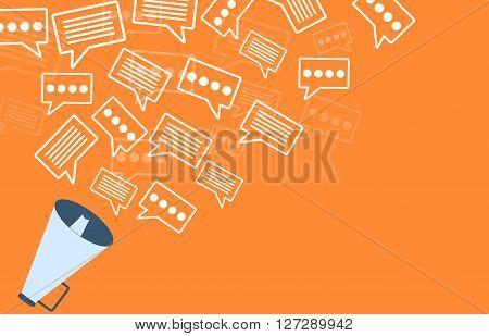 Megaphone orange marketing concept advert template design