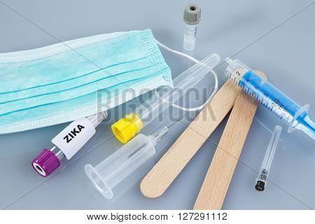 Test tube for analyzing ZIKA virus. Medical environment.