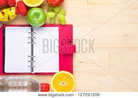 Concept of diet. Low-calorie fruit diet. Diet for weight loss. Plate with fruit on the table.