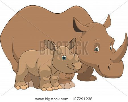 Vector illustration adult and baby rhino on a white background