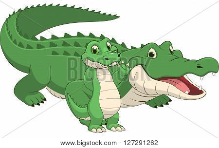 Vector illustration adult crocodile and baby crocodile on a white background