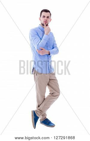 Full Length Portrait Of Handsome Man Thinking About Something Isolated On White