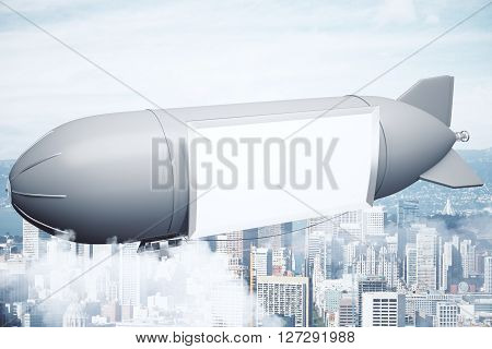 Airship With Banner Above City