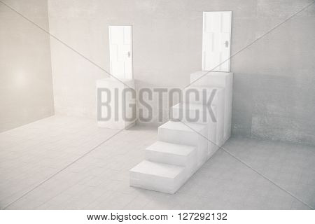 Concrete interior with stand and staircase leading to door. 3D Rendering