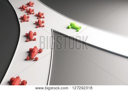Different direction concept with abstract green car going in one direction and flow of red cars in another. Frontview 3D Rendering