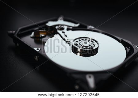 Disassembled Hard Drive From The Computer, Hdd With Mirror Effects. Part Of Computer Pc, Laptop