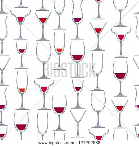 Seamless pattern with different glasses for wine. For your desing,restaurant and cafe menu.