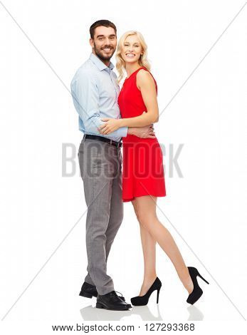 people, valentines day, love, couple and holidays concept - happy young woman and man hugging