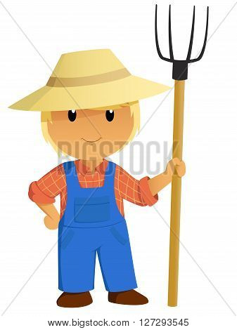 Cartoon Farmer Character in hat with pitchfork. Vector Illustration.