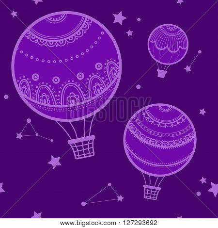 Background with hot air balloons, night and hot air balloons. Vector illustration of hot air balloons, the starry sky.