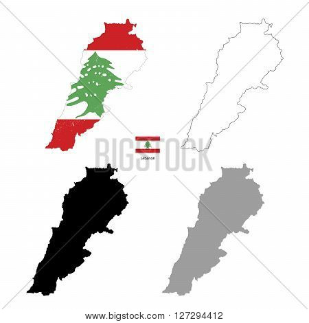 Lebanon country black silhouette and with flag on background isolated on white