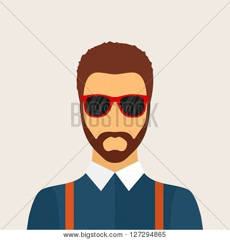 Hipster man character with beard, hairstyle and glasses in flat style. Stylish young guy on background. Hipster avatar icon. Vector illustration