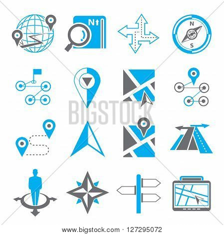 collection of 16 map navigation and gps icons