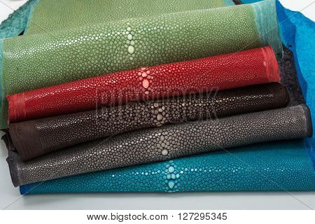 Stingray exotic hide, leather, skins in five colours ** Note: Visible grain at 100%, best at smaller sizes