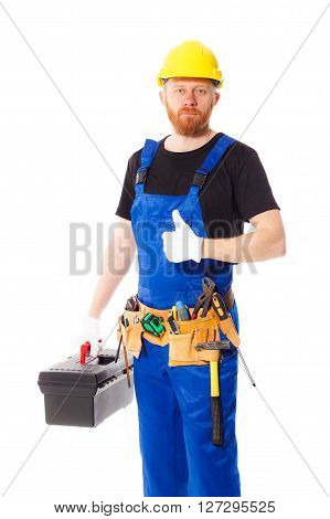 Man Builder With Set Of Construction Tools, Isolated