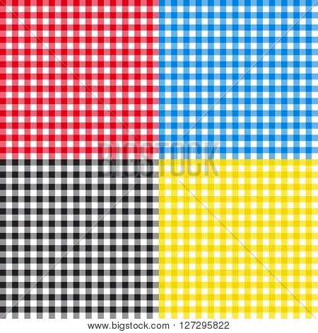 Table cloth seamless pattern vector illustration red blue yellow black