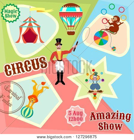 Posters circus juggling clown lion on the ball and the monkey gymnast on the bike to advertise a circus show