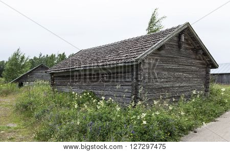 Old wooden boathouse, warehouse surrounded by flowers. Gravel road to the right.