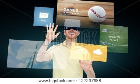 3d technology, virtual reality, cyberspace, entertainment and people concept - happy young man with virtual reality headset or 3d glasses and applications menu over black background
