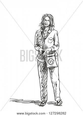 Sketch of smiling woman standing isolated. Hand drawn illustration