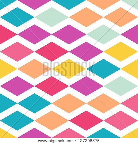 Abstract colorful background seamless pattern of rhombus shapes graphic. This illustration consists of rhombus shapes in orange, red, pink, blue, orange colors