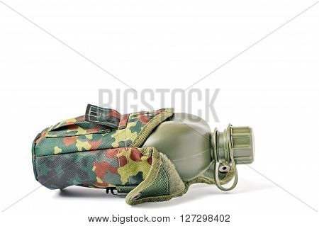 Lateral view of camouflage plastic canteen isolated on white.