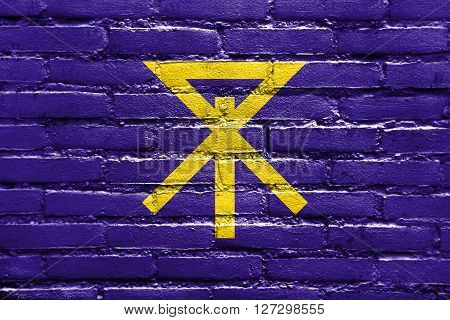 Flag Of Osaka, Japan, Painted On Brick Wall