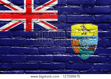 Flag Of Saint Helena, Painted On Brick Wall