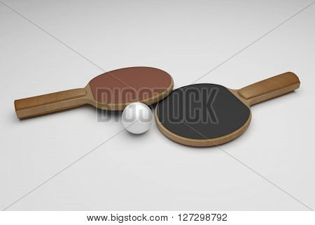two wooden ping pong rackets and white ball 3D Rendering