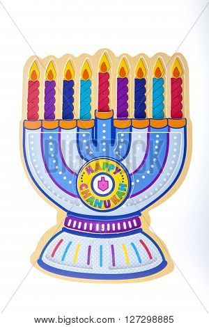 A Chanukah Menorah against a white background