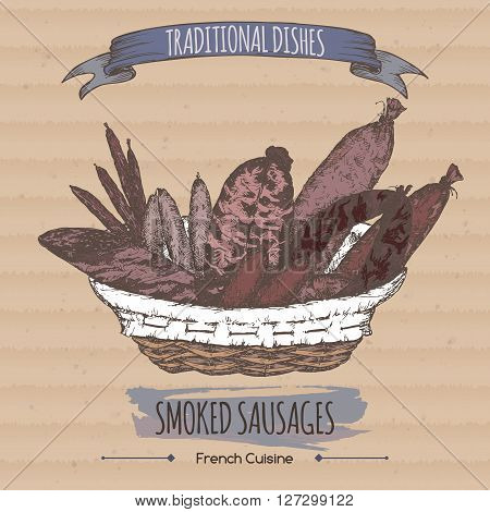 Color vintage smoked sausages sketch placed on cardboard background. French cuisine. Traditional dishes series. Great for meat stalls, grocery stores, organic shops, food label design.