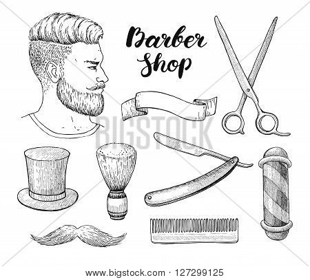 Vector vintage hand drawn Barber Shop set. Detailed illustrations. Hipster man with beard mustage scissors ribbon whisker and lettering styled text. Design elements for label banner poster template.