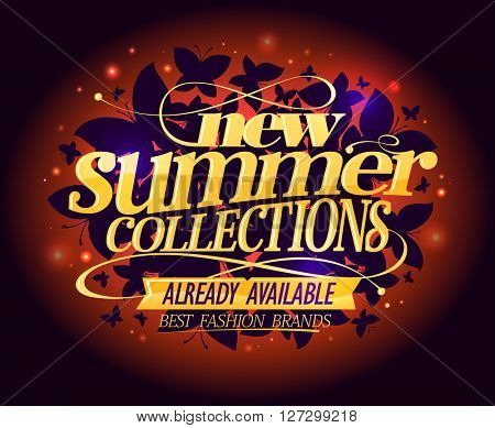 New summer collections night fashion design with butterflies and golden headline