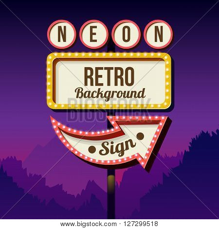 Neon sign with lights. Retro billboard in the city at night. Clean place with a frame. Volumetric vintage frame. Roadside sign. Road red sign from the 50s. Shield against night mountain.