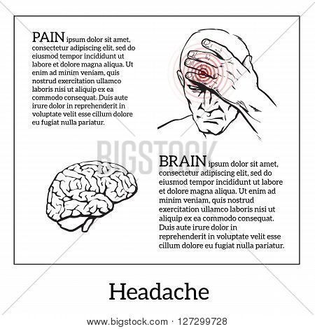 Picture a man with a headache, vector illustration sketch of a man who holds his hand to his head, pain in the head of a man, the concept of sickness or disease in the human brain