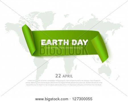 World Earth day concept with green curved paper ribbon banner, world map and space for text, realistic vector eco background. Paper ribbon web banner. Conceptual illustration for earth day