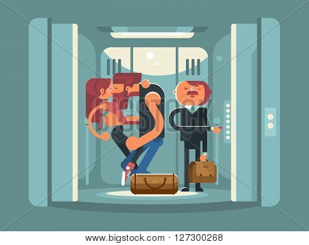 Couple kissing in the elevator. People man and woman kiss.  Standing businessman in suit. Vector illustration