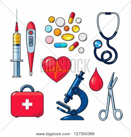 Tools for medical research, the icons on the white background, colored objects medical sketch style hand-drawn, heart, icons, microscope, thermometer, syringe, medicines, first aid kit