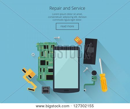 Mobile repair and service concept. Smarthone with tools and spare parts.Top view. Flat design concepts for web banners, web sites, printed materials, infographics. Creative vector illustration