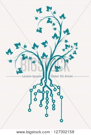 Conceptual Design With Floral Branch And Root In Pcb-layout Style. High-tech Vector Illustration.