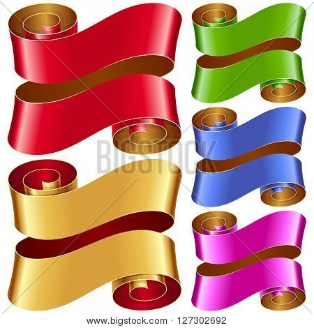 Vector ribbon frames set. Red, green, blue, purple and golden banners isolated on white background