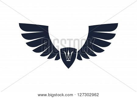 Pair Of Stylish Decorative Vector Wings With Shield And Crown